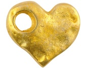 Casting-17x15mm Hammered Heart-Large Hole-Gold-Quantity 1