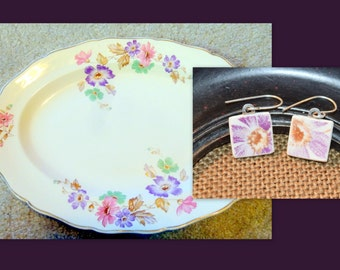Purple Daisys-  Recycled BROKEN CHINA PLATE earrings