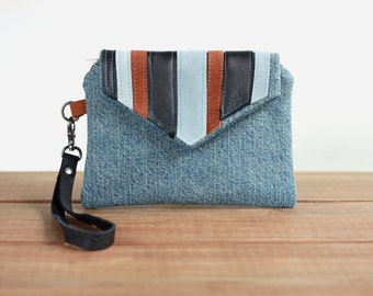 Denim Cell Phone Wristlet - Clutch with Strap - Cell Phone Purse - Clutch Bag - Wristlet Purse - Wristlet Wallet Cell Phone