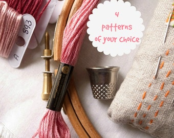 4 embroidery patterns of your choice