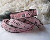 We loved with a love that was more than love - Edgar Allan Poe - Handpainted and Scripted Silk Fairy Ribbon - Pink - Heart Arrow Ink Doodle