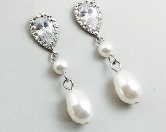 Bridal Pearl Earrings With Cubic Zirconia  And White Swarovski Crystal Pearls