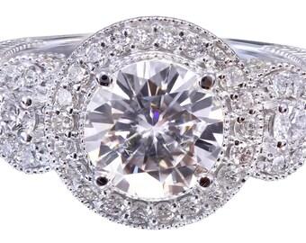 18K White Gold Round Cut Diamond Engagement Ring Deco Halo 2.30ctw H-VS2 EGL USA