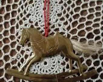 Vintage Department 56 brass horse ornament