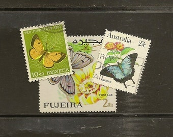 BUTTERFLIES on vintage used postage stamps 33 stamps - perfect for your next craft project or topical collection