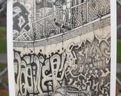 Skate Postcard by David Jablow Doodle Pad Art 5x7 Glossy