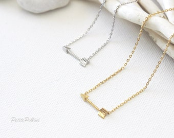 Arrow Necklace in Gold. Small Arrow Necklace. Unisex Gift (PNL- 90)