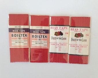 Single Fold Bias Tape, Vintage Bias Tape - Set of 4 Packages