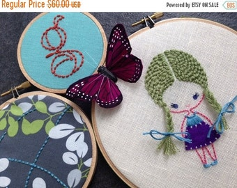 Christmas in July Sale Girl with Braids. hand embroidered. hoop art. monogram. butterfly. girl's room decoration. nursery decoration.   hand