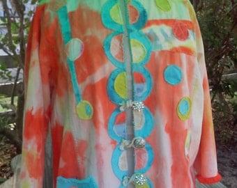 Walking on Sunshine Kimono Styled Denim Redoo Jacket hand dyed repurposed denim Size S/M