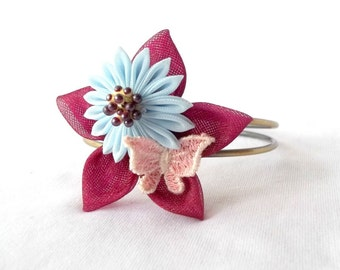 Kawaii Butterfly and Kanzashi Flower Bracelet in Burgundy Pink and Sky Blue