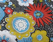 One Yard Cotton Blend Fabric Big Bold Flowers Cotton Looser Weave Black Blue Gold Red Fun