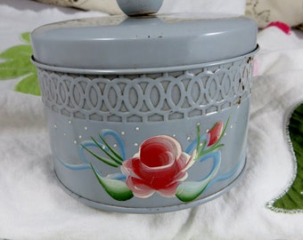 Shabby Style Round Lidded Tin Container Rose Hand Painted Tole Painted Vintage Dresser Box Baby Blue with Rose