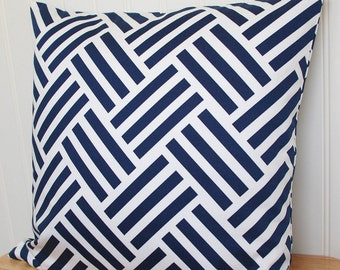 Blue Geometric Pillow Cover, Navy Blue Throw Pillow, 18x18 Pillow Cover, Navy Blue Cushion Cover, Geometric Cushion