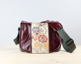 Medium - Leather Camera Bag New Satchel  -  Golden Floral Leather DSLR - PRE-ORDER
