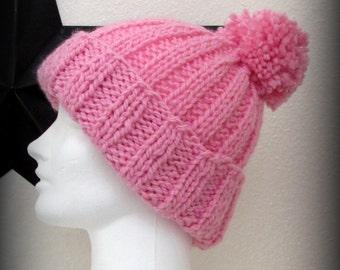 Hand knit hat - knit hat - pom pom knit hat - pink knit hat - knit hat - knit beanie - knit acrylic hat - pom pom - warm knit hat - beanie