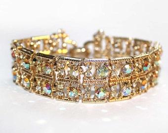 CORO Crystal and Crystal Aurora Borealis Square Link Bracelet