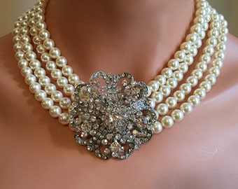 Statement Wedding Necklace Set Breakfast at movie style with Rhinestone Brooch 4 multi strands Ivory Swarovski Pearls Earrings included