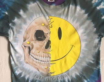 GRATEFUL DEAD Have a Dead Day 1995 Tie Dye Skull and Sunshine Ultra Rare True Vintage T Shirt