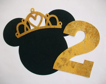 Iron On Minnie Mouse Applique with Iron on Crown and Number