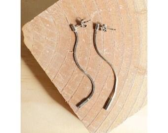 Skinny Chain Earrings • Sterling Silver Earrings • Minimalist Earrings • Silver Dangle Earrings • Delicate Earrings • Long Earrings  | E212