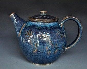 Blue Handmade Pottery Teapot Ceramic Teapot Stoneware Teapot A