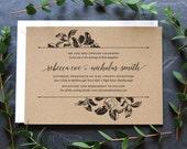 Rustic Recycled Wedding Invitation / 'Vintage Rose' Botanical Modern Calligraphy Elegant Invite  / Kraft Manilla Brown Card / ONE SAMPLE