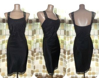 Vintage 50s Full Slip | 1950s Slip | Black Tafredda Taffeta & Lace | by Lady Lynne | Size 38 Large | Side Zipper | 60s Lingerie