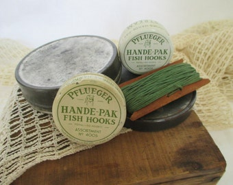Vintage Pflueger Fishing Hook Tins - Wooden Hand Line - Round Metal Tin - Country Cottage Rustic Decor