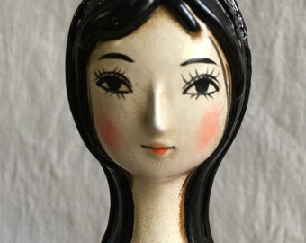 Mod bathroom decor  hairspray can cover  papier mache can cover  hand painted doll face