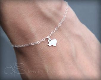 TEXAS BRACELET - sterling texas bracelet, texas charm bracelet, state bracelet, tiny texas charm bracelet