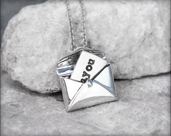 STERLING ENVELOPE NECKLACE - hidden message necklace, secret message locket, love note necklace, letter locket, hidden note