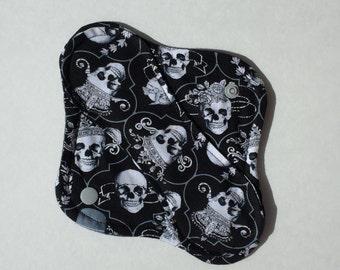 "ON SALE Cloth Panty Liner Cotton Fleece 8"" Skulls"