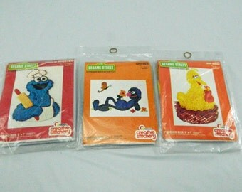 Vintage Sesame Stree Embroidery Kits 1977 Big Bird, Grover, Cookie Monster Jim Henson Muppet Creative Stitchery