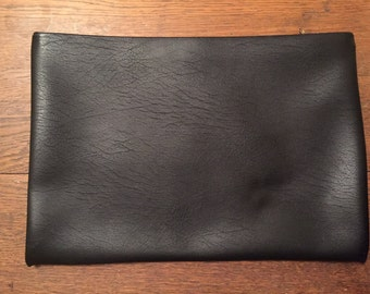 Vintage Leather Oversized Large Pouch Moneybag Purse Clutch Black Gold Zipper Hazel