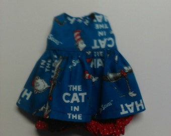 """Baby Alive  And Waldorf Doll Clothes Adorable Dress 10"""" 12"""" Or 15"""" Dr Seuss Cat In The Hat"""