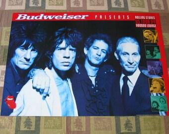 "Rolling Stones Original 1994 Concert Poster 22"" x 31"" Voodoo Lounge Budweiser"