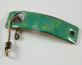 Small Green and Yellow Enameled Bracelet Bar Clasp with Copper  Wire Hook