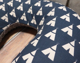 Nursing Pillow Cover - Baby Boy- White Tee Pees on Navy Boppy Cover  with Gray Minky