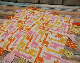 Ribbon Sensory Baby Girl Blanket Lovey - Pink and Yellow Giraffes READY TO SHIP