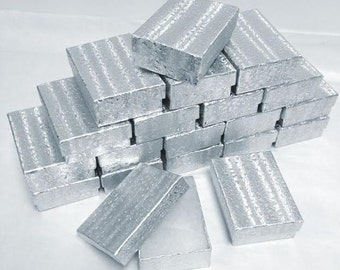 Silver Foil Boxes - 20 count (2.5 x 1.5 x 1) Cotton Filled Jewelry Boxes