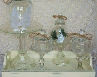 4 Shabby Chic Glass Domes and Pedestals  Wedding Holiday Home Decor