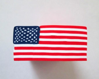American Flag Cane, Polymer Clay Cane, Millefiori Cane, Patriotic Cane, Nail Art, Red White and Blue Cane, 4th of July, Unbaked Cane