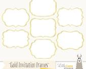 Frame Clipart, Fancy Frames Clip Art, Gold Foil Frames, Frames for Invitations, Commercial Use, Instant Download