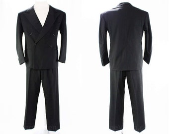Men's 1940s Tuxedo - Gangster Style Made in Italy - Medium Mid Century Mens Formal Wear - Black 40s Tux Jacket & Pant - Chest 42 - 45766