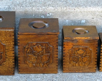 wooden nesting kitchen canister set Sears Roebuck 1977 made in Japan 1970s kitchen rustic primitive colonial