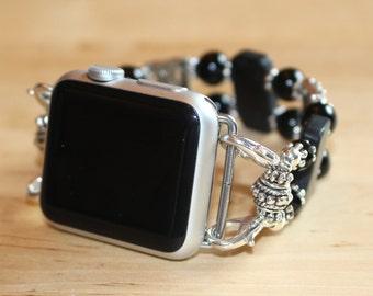 Apple Watch Band, Adornables Watch Bracelet, Interchangeable Watch Band, Watch Bracelet, Black Onyx Watch Band Apple 38mm
