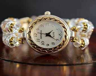 Ladies Watch, Silver and Gold Watch, Crystal Watch