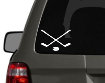 Crossed Hockey Sticks and Puck Car Decal Sticker BAS-0327
