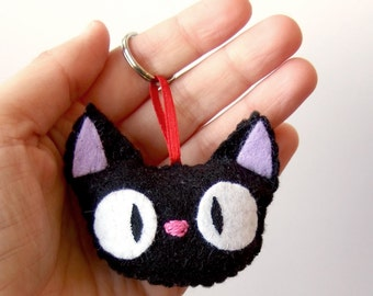 Jiji (from kiki's delivery service by studio ghibli)  plush charm with keychain